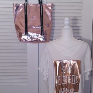 2 Pc Kendall & Kylie Purse & Rosegold Tee 2XL Set